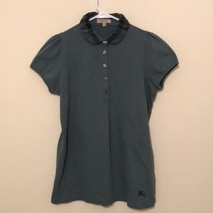 Burberry Sage Short Sleeve Button up Polo, L